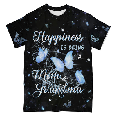 Happiness Is Being Mom And Grandma Butterfly EZ10 0304 All Over T-Shirt - Hyperfavor