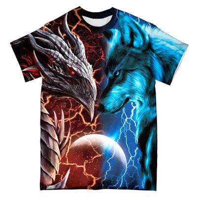 Heart Of A Wolf Soul Of A Dragon EZ05 0510 All Over T-Shirt - Hyperfavor