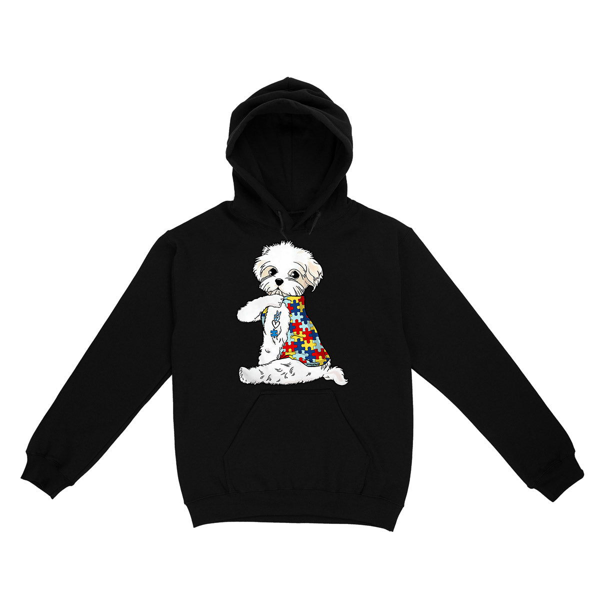 Bichon Frise Autism Awareness Peace Love EZ06 0504 Hoodie