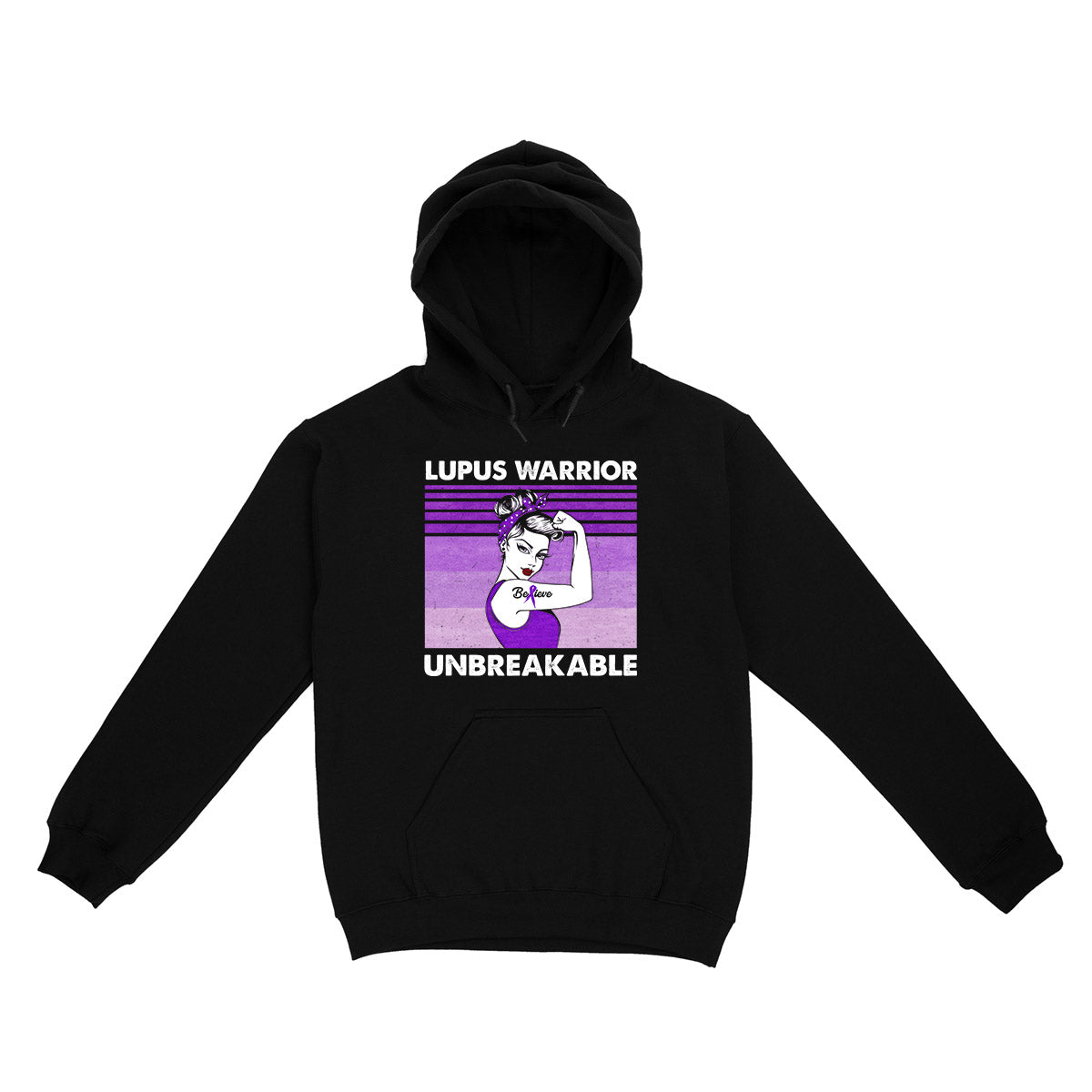 Lupus Awareness Warrior Unbreakable Retro 02 EZ01 Hoodie