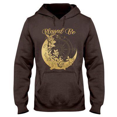 Gradient Gold Blessed Be Crescent Moon With Roses Witch Wicca EZ20 0710 Hoodie - Hyperfavor