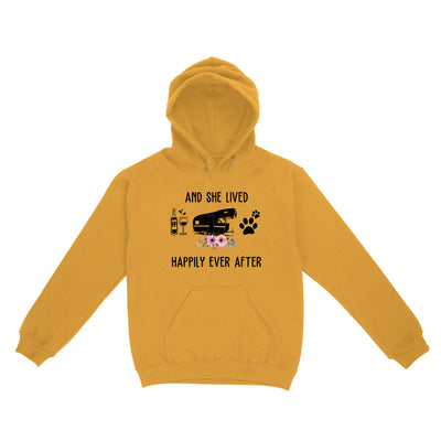 And she lived happily ever after wine camper dog EZ03 2703 Hoodie - Hyperfavor