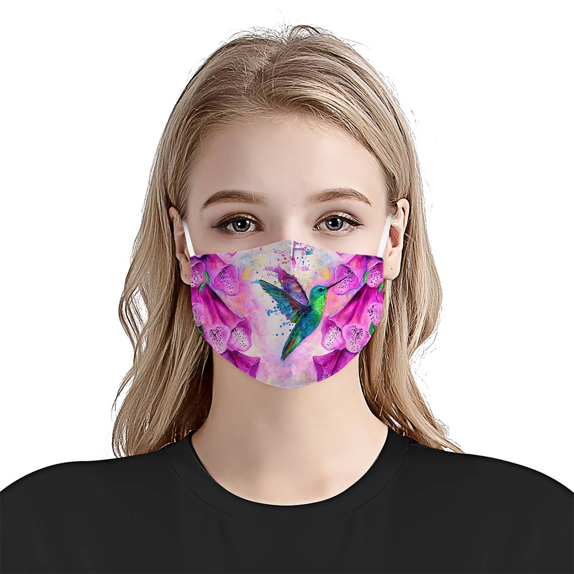 Hummingbird Watercolor EZ08 0505 Face Mask - Hyperfavor