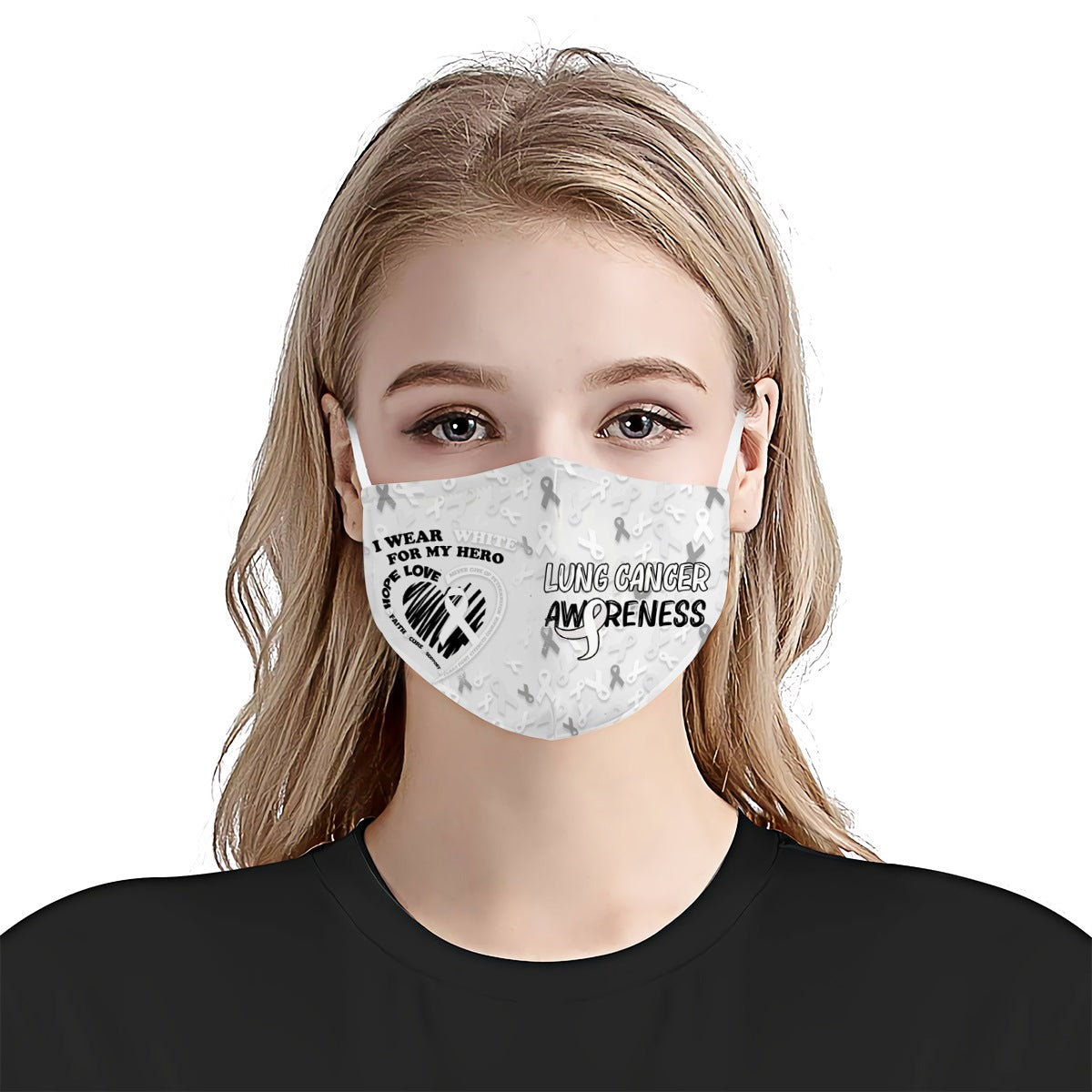 I Wear White For My Hero Lung Cancer Awareness EZ03 0405 Face Mask - Hyperfavor
