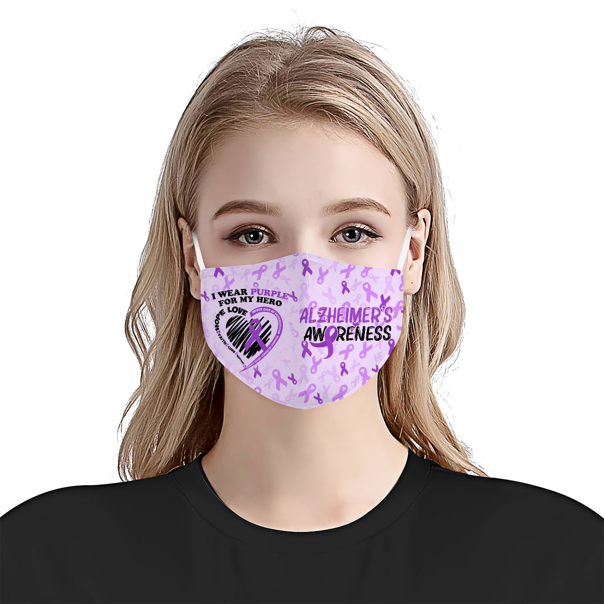 I wear purple for my hero Alzheimer's Awareness EZ03 0405 Face Mask - Hyperfavor