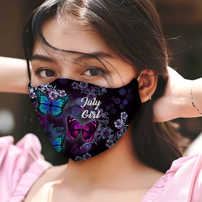 July Girl Faith Hope Love Butterflies EZ08 1105 Face Mask - Hyperfavor