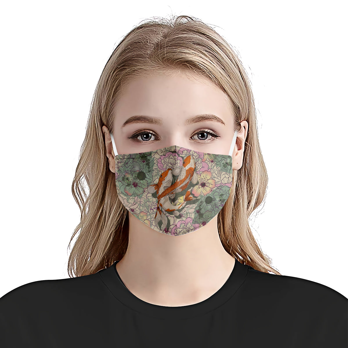 Koi Fishes Floral Pattern EZ02 0206 Face Mask - Hyperfavor