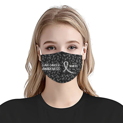 Lung Cancer Awareness I Wear For My Hero EZ06 1704 Face Mask - Hyperfavor