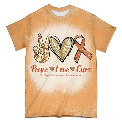 Multiple Sclerosis Awareness Peace Love Cure EZ01 0204 All Over T-shirt - Hyperfavor