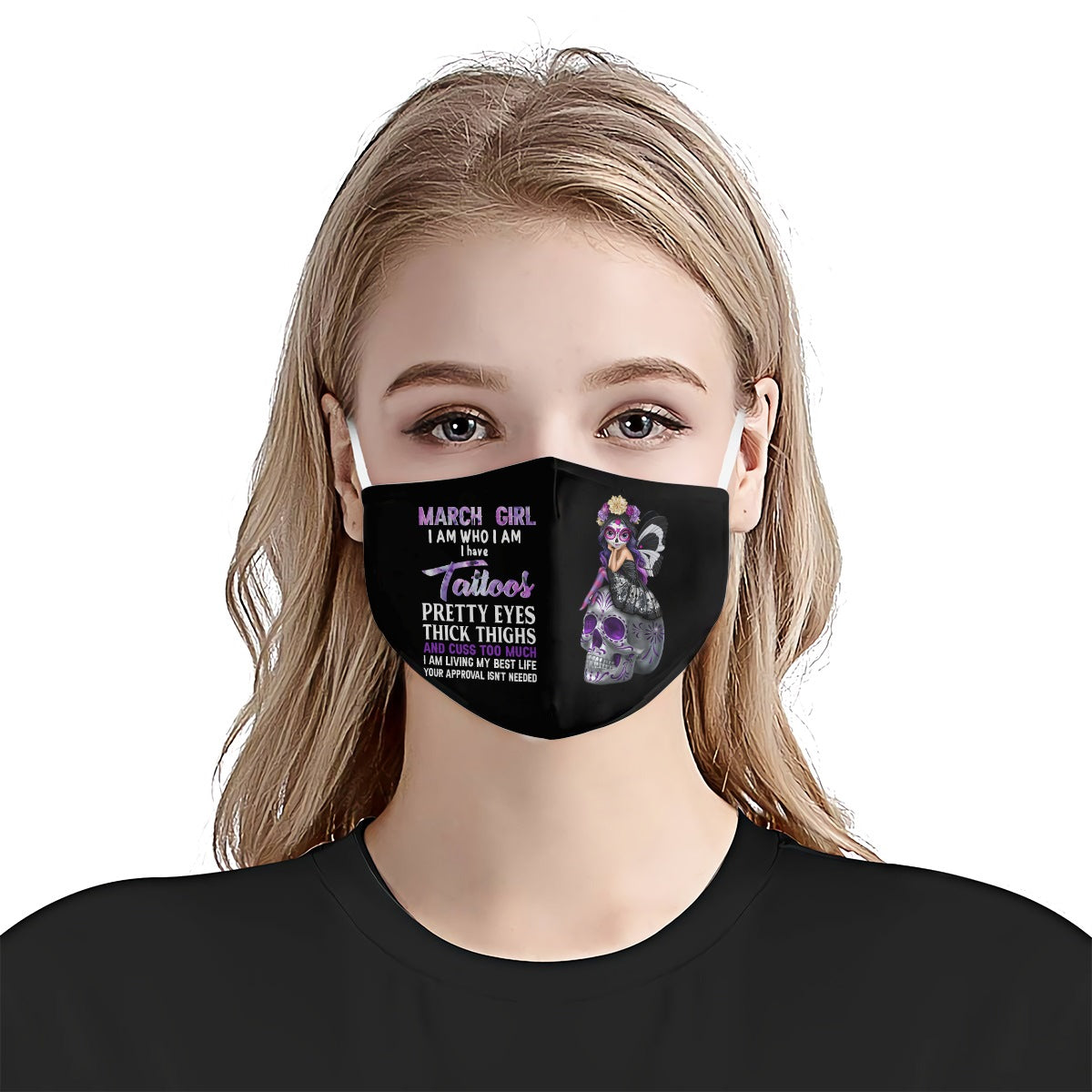 March Girl Tattoo EZ01 0805 Face Mask - Hyperfavor