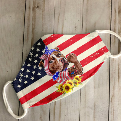 Merica American Pitbull Terrier 4th Of July EZ06 1305 Face Mask - Hyperfavor