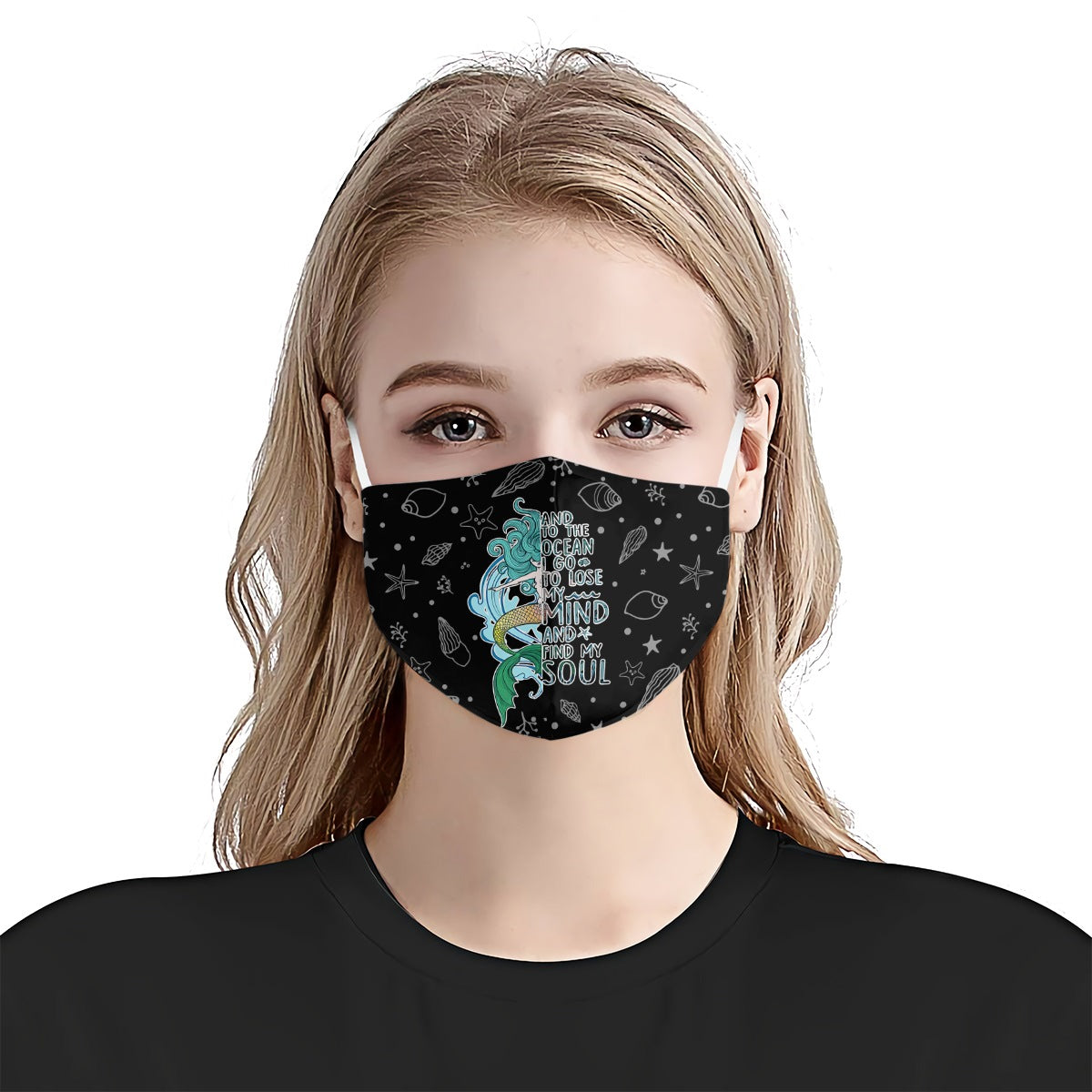 Mermaid And To The Ocean I Go To Lose My Mind 1 EZ07 1305 Face Mask - Hyperfavor