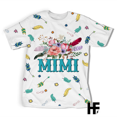 Mimi Boho Floral Feathers EZ03 1603 All Over T-shirt - Hyperfavor