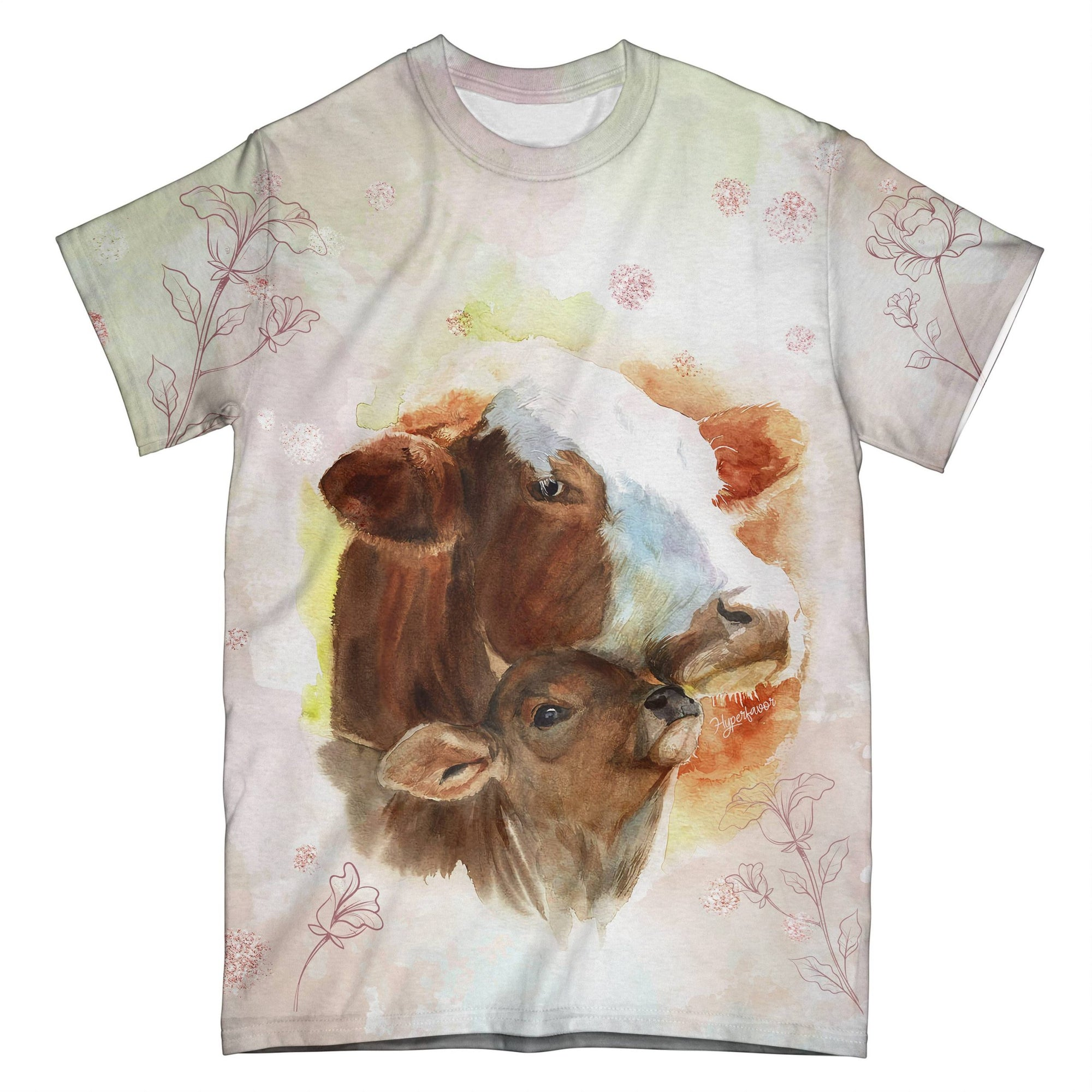 Mom And Baby Cow EZ07 0804 All Over T-Shirt - Hyperfavor