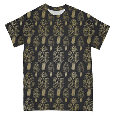 Morel Mushroom Gold EZ01 2403 I All Over T-shirt - Hyperfavor