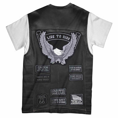 Motorcycle American Proud Sleeveless Leather Jacket Costume EZ02 3003 All Over T-Shirt - Hyperfavor