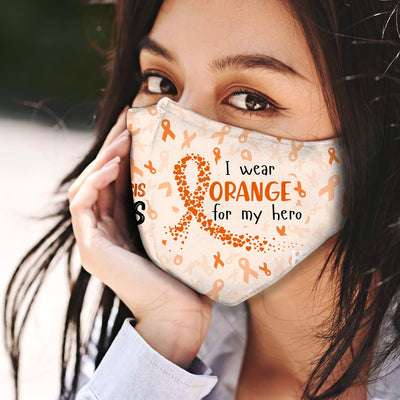 Multiple Sclerosis Awareness I Wear For My Hero EZ06 1704 Face Mask - Hyperfavor