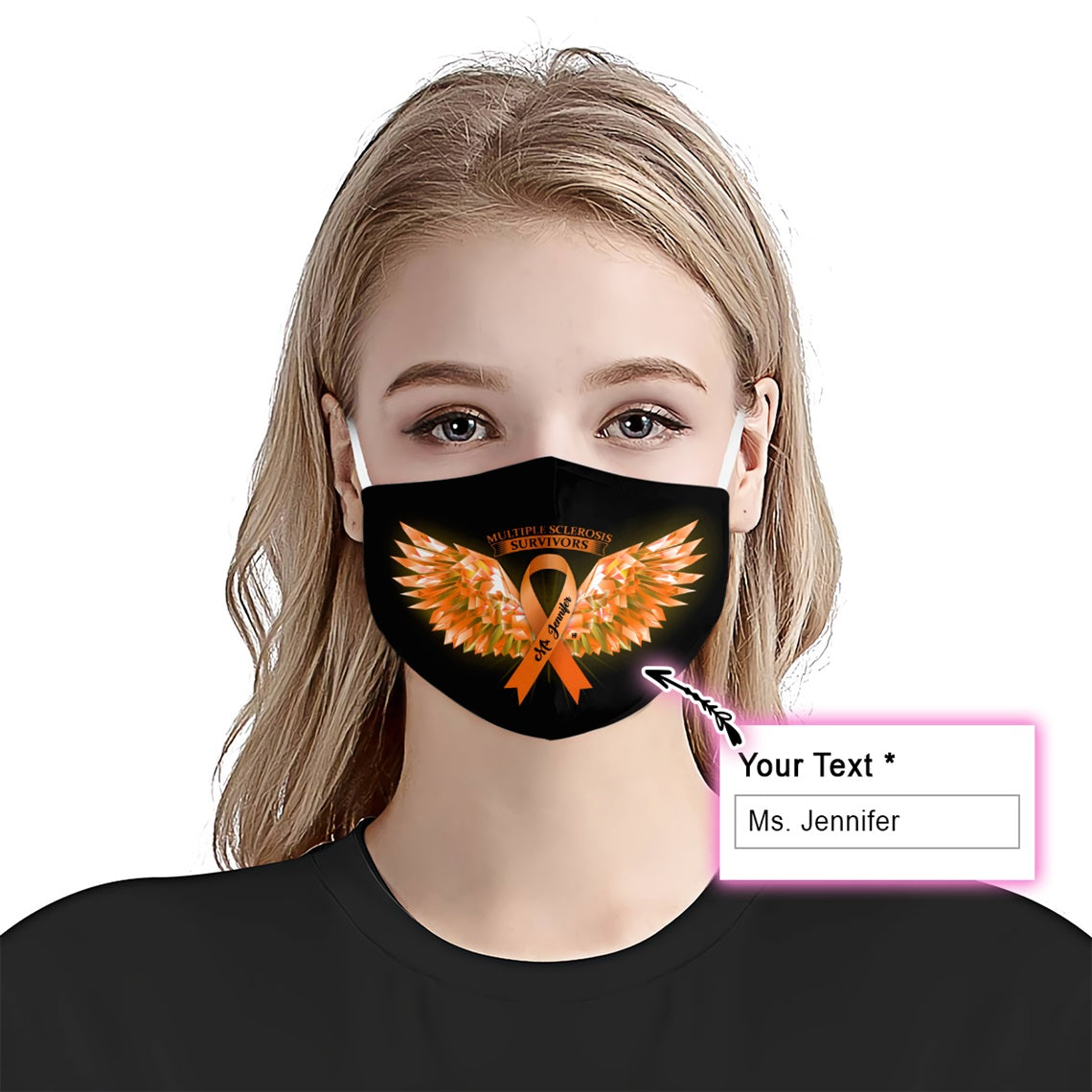 Multiple Sclerosis Awareness Wings EZ10 2005 Custom Face Mask - Hyperfavor