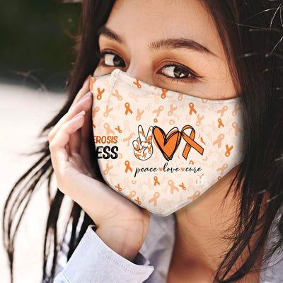 Multiple sclerosis Awareness Peace Love Cure EZ06 1704 Face Mask - Hyperfavor