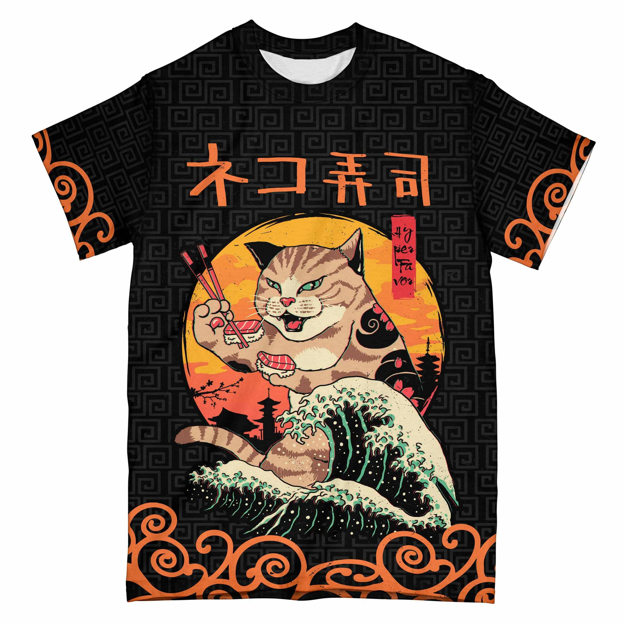 Neko Sushi Japanese Retro EZ07 2305 All Over T-shirt - Hyperfavor