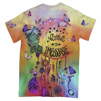 Nothing Is Impossible Butterfly Dreamcatcher EZ08 3003 All Over T-shirt - Hyperfavor