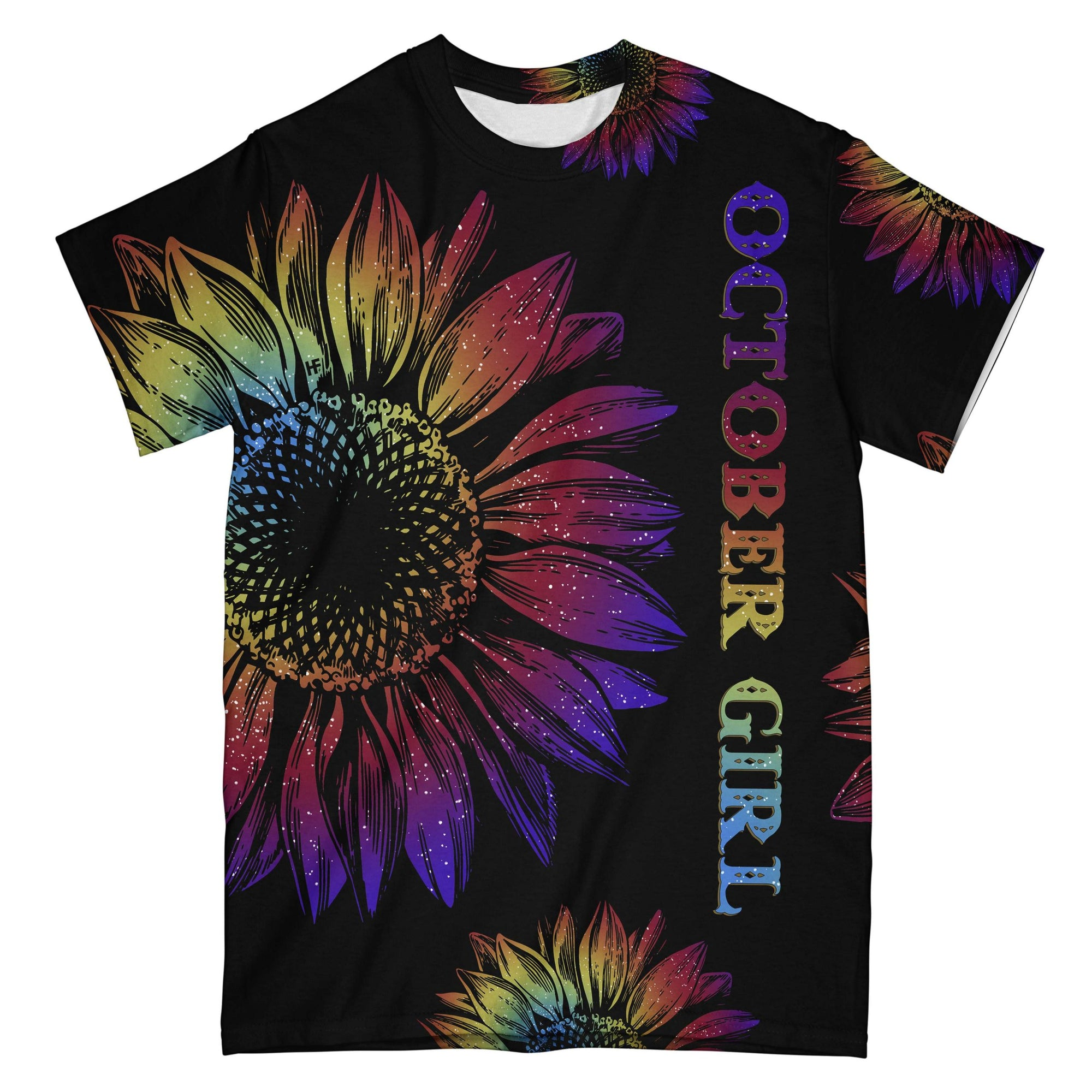October Girl Tie Dye Sunflower EZ08 2608 All Over T-shirt - Hyperfavor