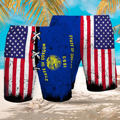 Oregon x American Flag EZ12 2707 Beach Short - Hyperfavor
