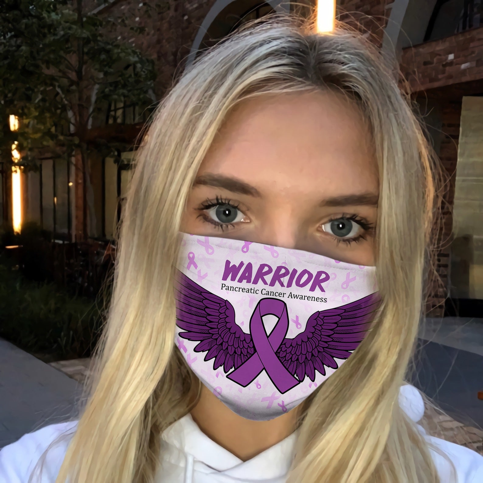 Pancreatic Cancer Awareness Wings EZ06 2904 Face Mask - Hyperfavor