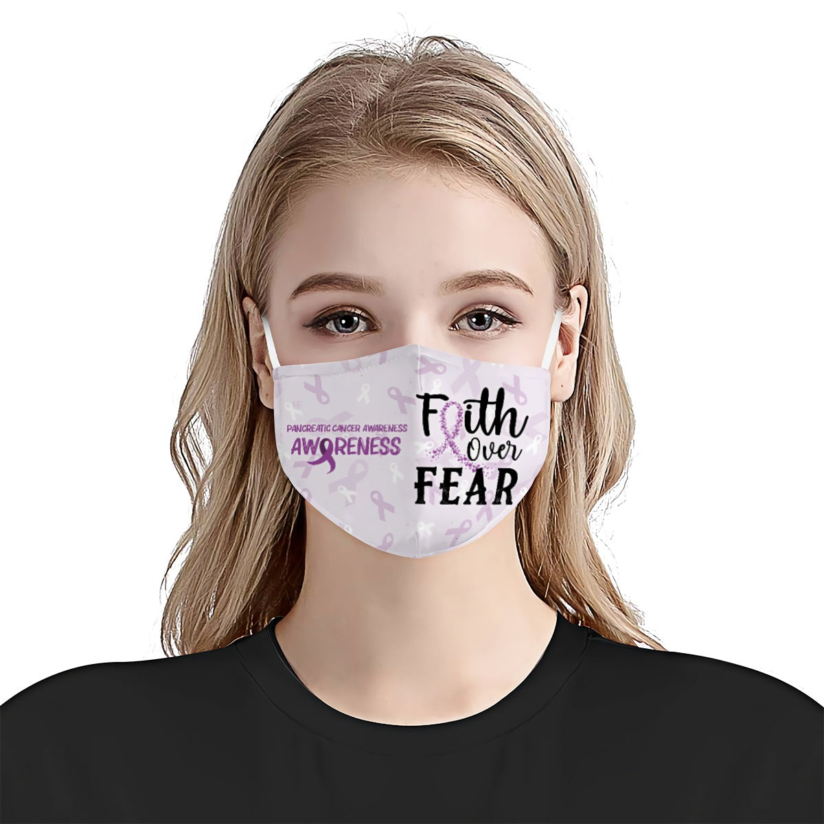 Pancreatic Cancer Awareness Faith Over Fear EZ01 2904 Face Mask - Hyperfavor