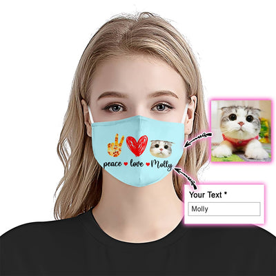 Peace Love Cat Light Blue EZ09 2005 Custom Face Mask - Hyperfavor