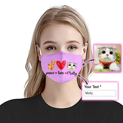 Peace Love Cat Light Purple EZ09 2005 Custom Face Mask - Hyperfavor