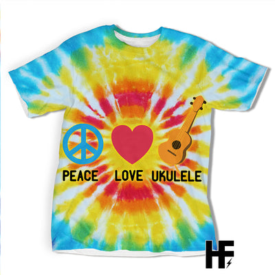 Peace love Ukulele Tie Dye EZ03 1403 All Over T-shirt - Hyperfavor