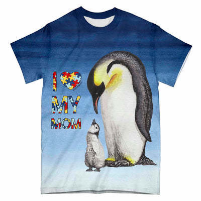 Autism Penguin Mom And Baby Blue Tie Dye 0104 EZ09 All Over T-Shirt - Hyperfavor