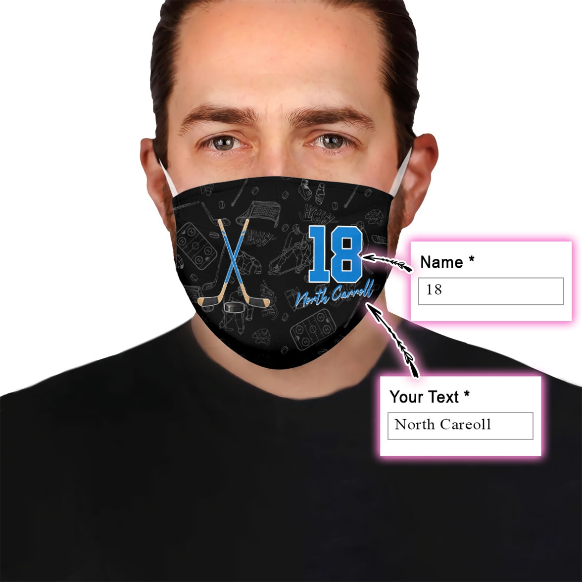 Personalize Hockey Name and Number v2 EZ16 0107 Custom Face Mask - Hyperfavor