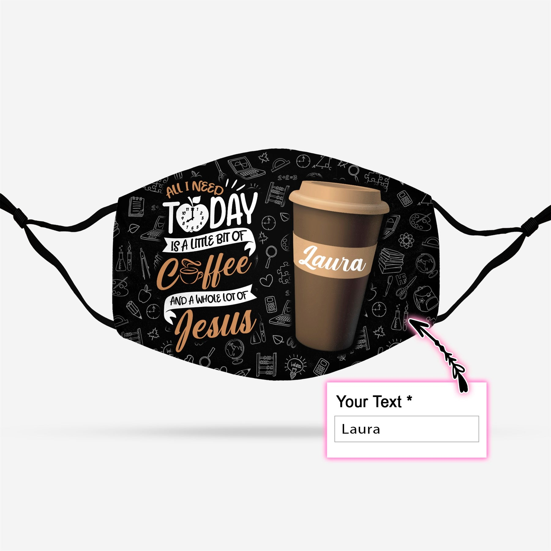 Personalized All I Need Today Is Coffee And Jesus EZ14 1008 Custom Face Mask - Hyperfavor