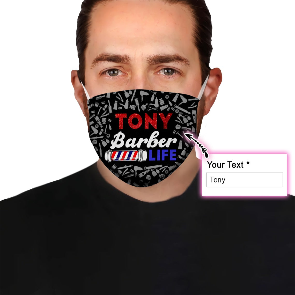 Personalized Barber With Your Name EZ08 2205 Custom Face Mask - Hyperfavor