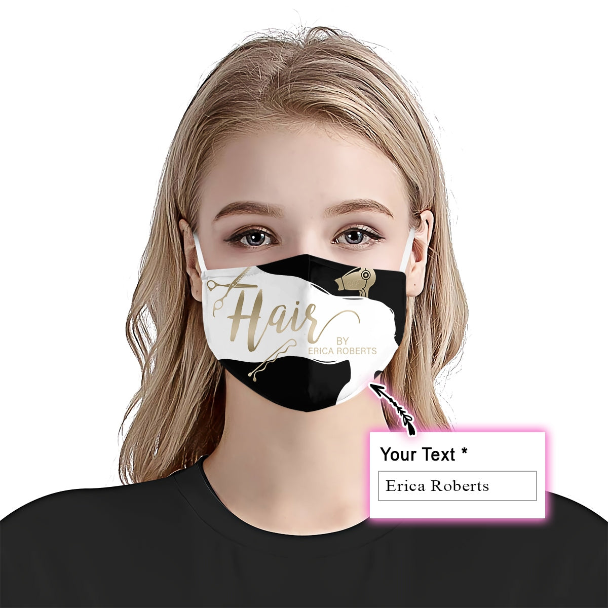 Personalized Hair By With Your Name Ver06 EZ08 1905 Custom Face Mask - Hyperfavor