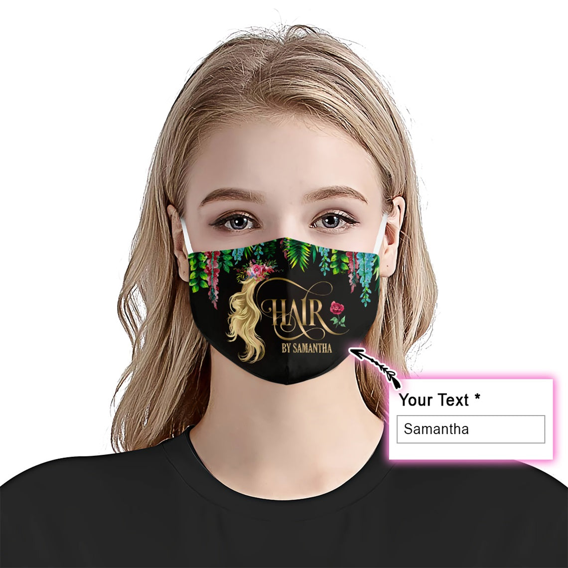 Personalized Hair By With Your Name Tropical EZ08 2505 Custom Face Mask - Hyperfavor