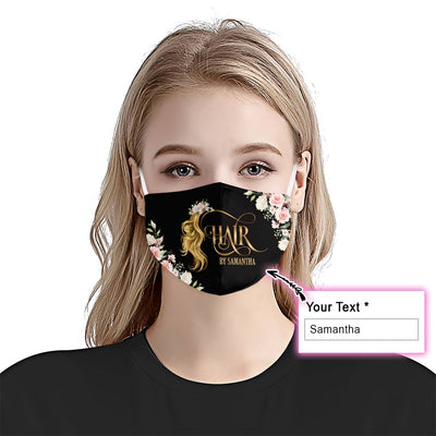 Personalized Hair By With Your Name With Roses EZ08 2505 Custom Face Mask - Hyperfavor