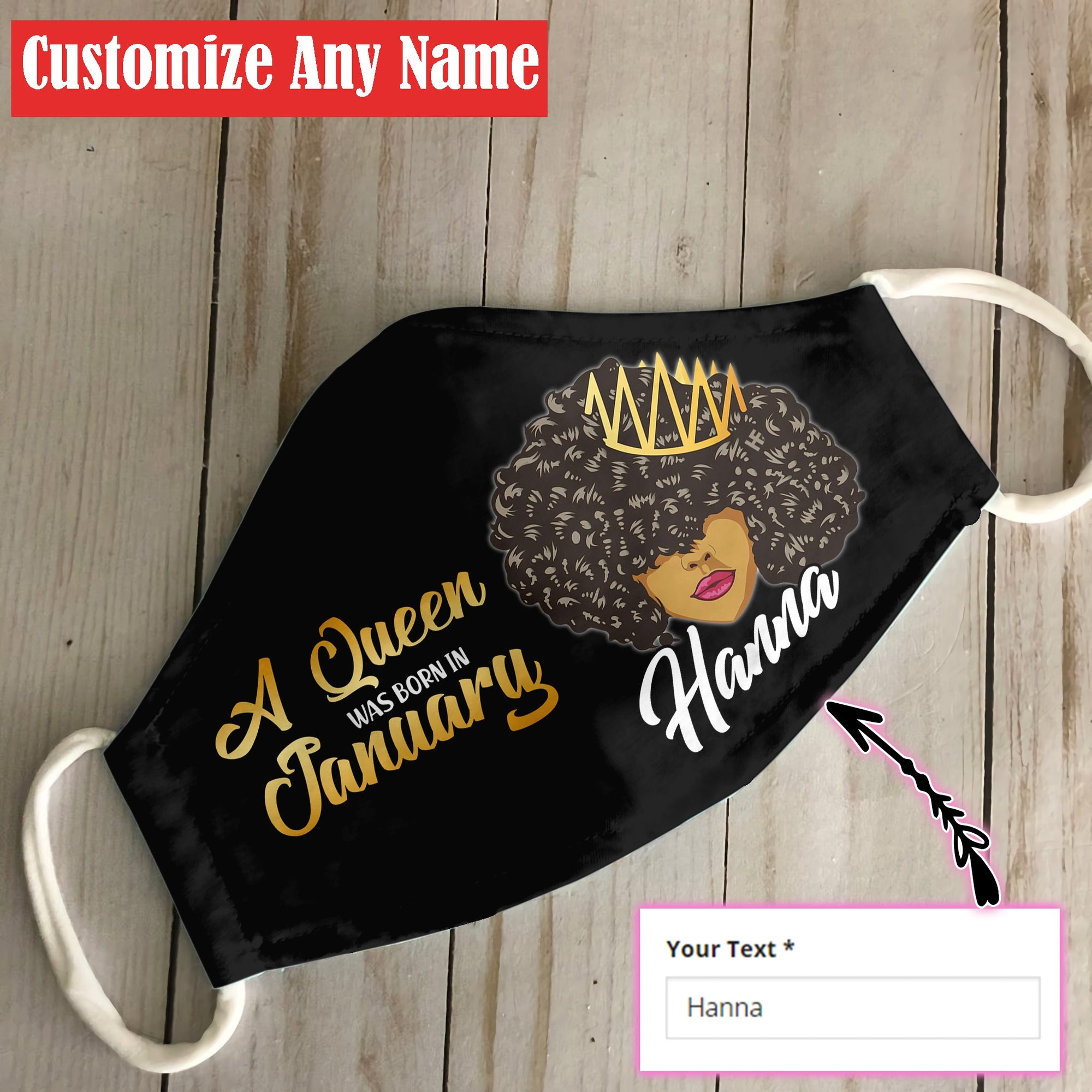 Personalized January Black Queen EZ06 1805 Custom Face Mask - Hyperfavor