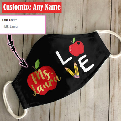 Personalized Teacher Name Love EZ06 1805 Custom Face Mask - Hyperfavor