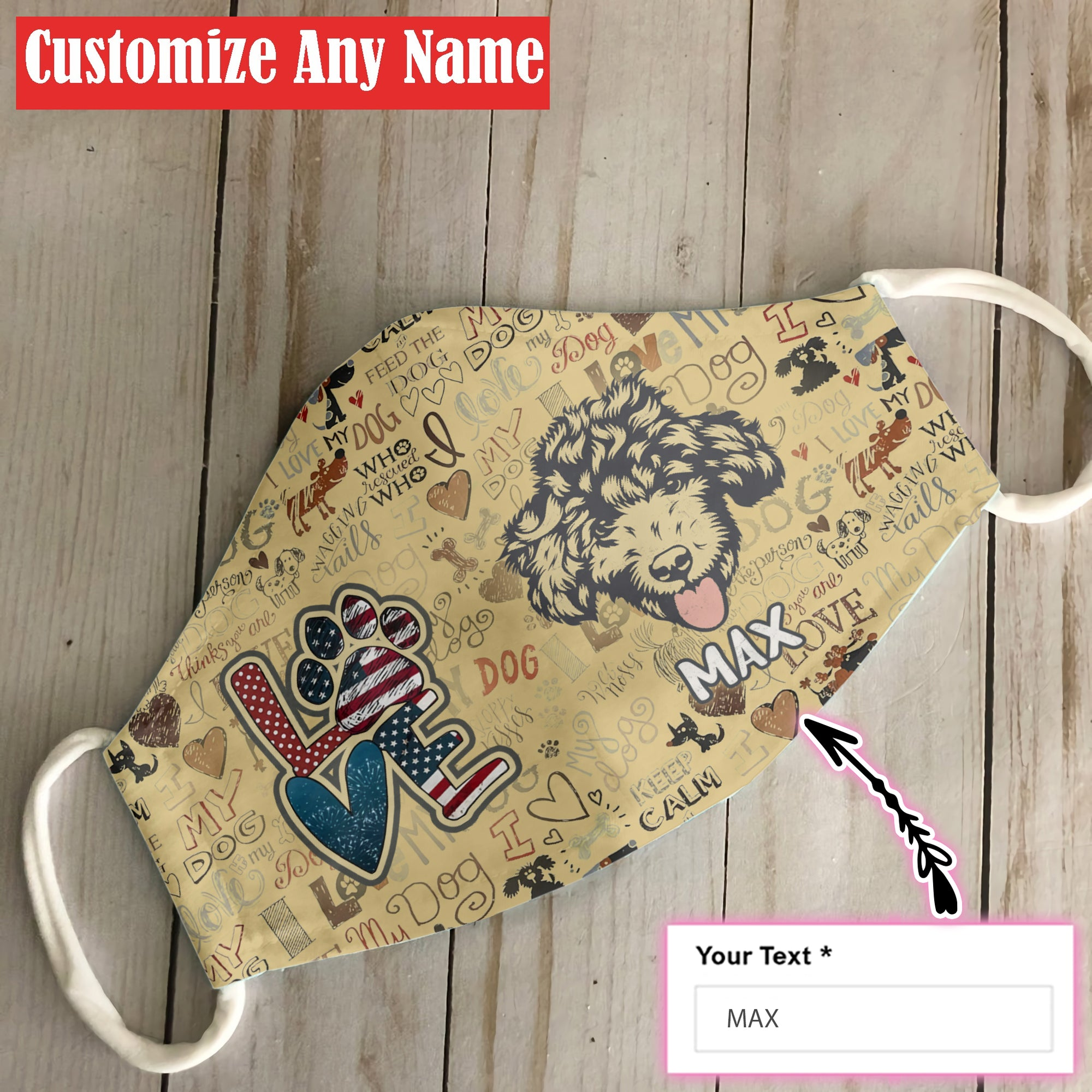 Personalized Your Dog Name Poodle Vintage EZ06 1007 Custom Face Mask - Hyperfavor