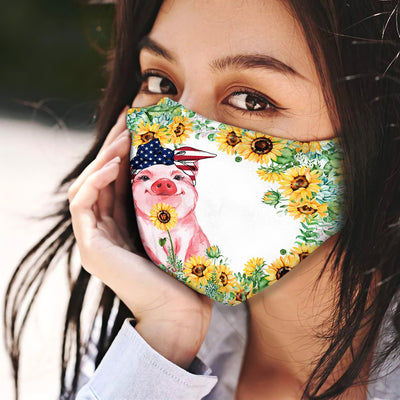 Pig Sunflower EZ12 0406 Face Mask - Hyperfavor