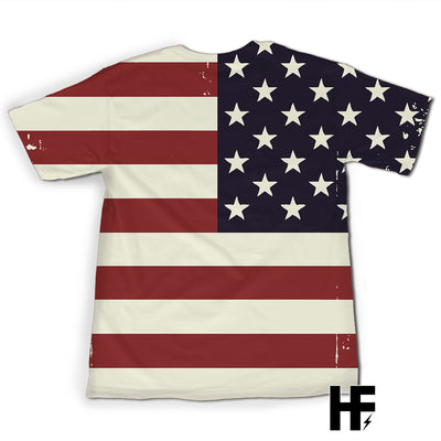 Pitbull I Love Mom American Flag Sunflower EZ07 1603 All Over T-Shirt - Hyperfavor