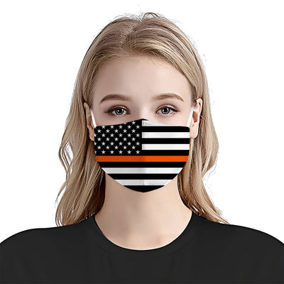 Premium American Flag Thin Orange Line EZ07 1804 Face Mask - Hyperfavor