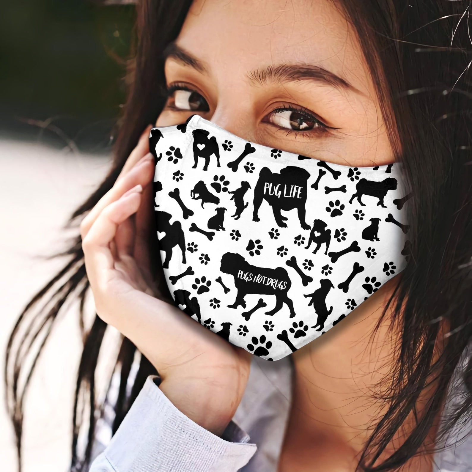 Pug Black & White Pattern EZ07 2707 Face Mask - Hyperfavor