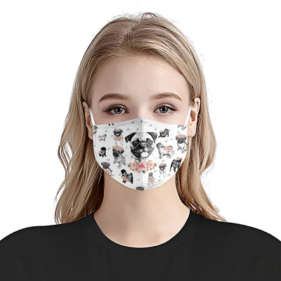 Pug Dog Floral Vintage EZ07 2905 Face Mask - Hyperfavor