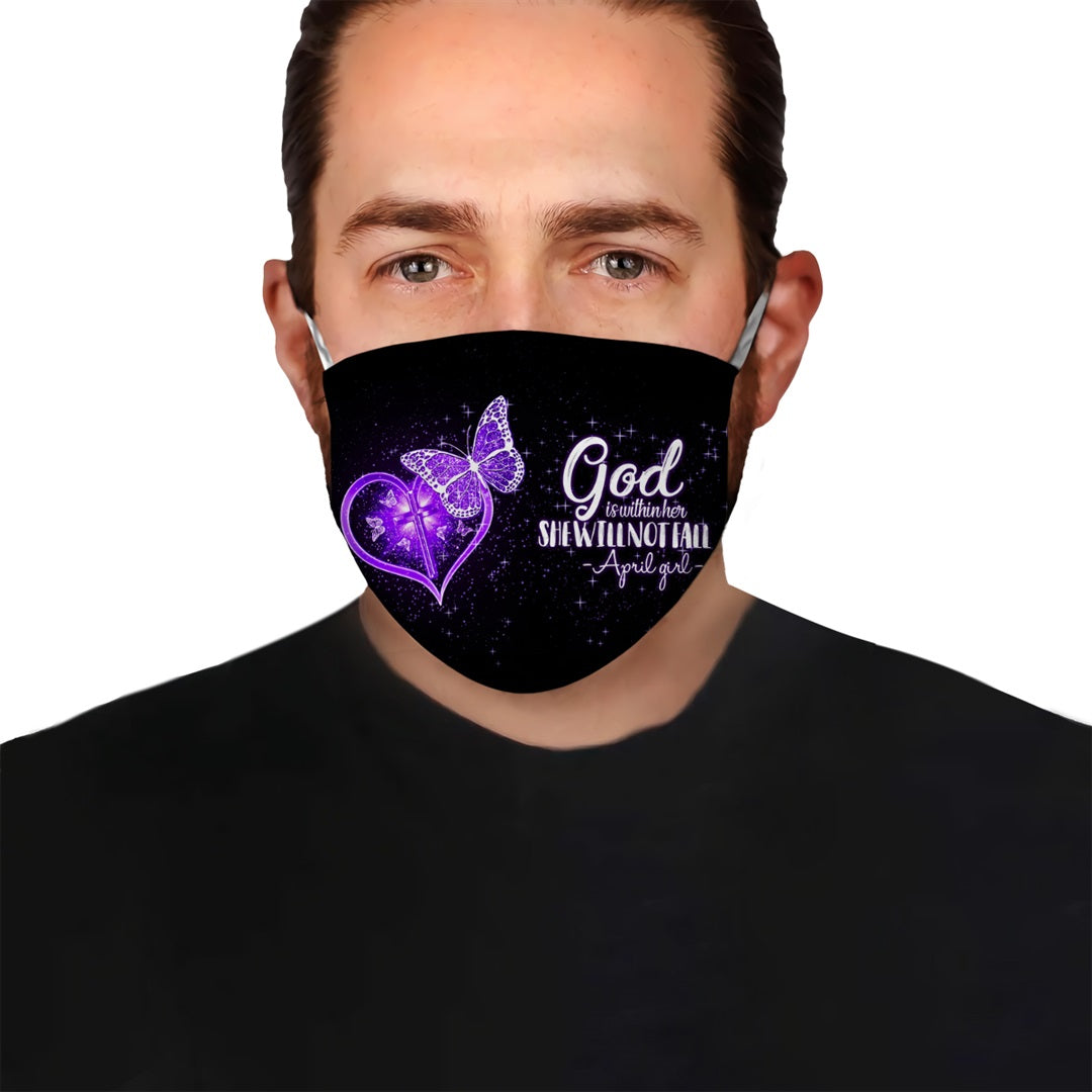 Premium Purple Butterfly April Girl EZ09 1205 Face Mask - Hyperfavor