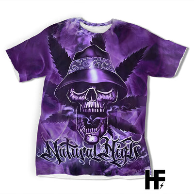 Purple Stormy Skull EZ10 1103 All Over T-Shirt - Hyperfavor