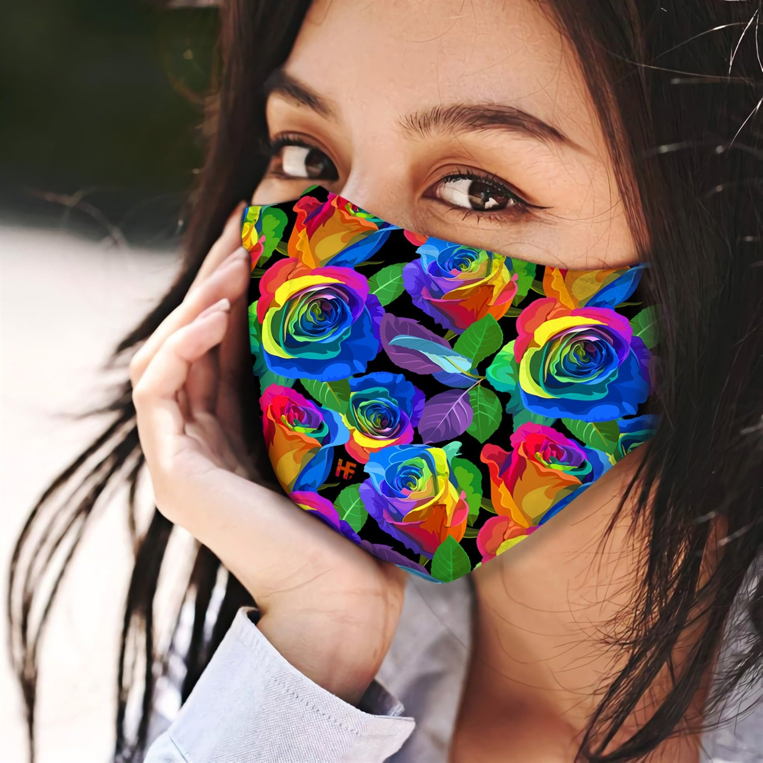 Rainbow Roses Pattern EZ13 0506 Face Mask - Hyperfavor
